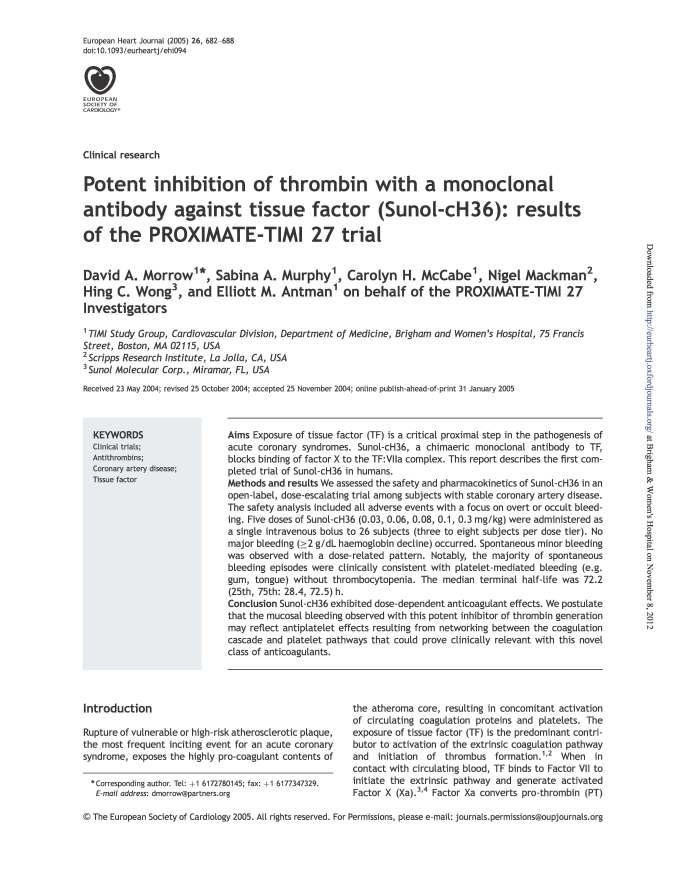 PROXIMATE-TIMI 27